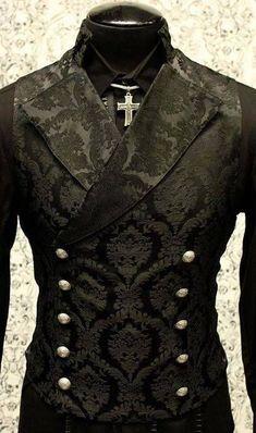 Shrine gothic vampire cavalier black vest jacket victorian tapestry steampunk SHRINE-GOTHIC-V. Punk Outfits, Gothic Outfits, Cool Outfits, Gothic Dress, Vest Outfits, Gothic Lolita, Steampunk Clothing, Steampunk Fashion, Gothic Clothing
