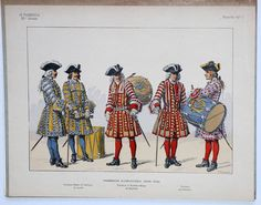 French; Infantry Regiment de Lynck, Drum-Major & Drummer, Infantry Regiment de Bourbon Drum-Major & Drummer & Infantry Regiment de Piemont Drummer, c.1724
