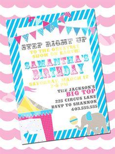 Carnival / Circus invitation for Girls!
