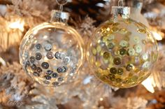 25 Handmade Christmas Ornaments 16 - Fox Hollow Cottage - DIY Sequined Ornaments