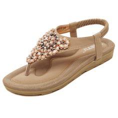 Sandales Bohémiennes Avec Perles Florales En Cristal Chaussures De Plage Plates Élastiques À Enfiler