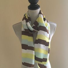 Vintage Echo Yellow Brown and Blue Abstract Striped Long 14 x 63 Silk Scarf…