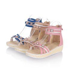 Cute Womens Sandals Shoes Zip Antiskid Strap Shiny Peep Toe Pumps Us Size Bd3930