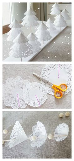 DIY Paper Doilies Christmas Tree - Travel ideas for all around The World - Autumn & Winter Paper Doily Crafts, Doilies Crafts, Paper Doilies, Tree Crafts, Christmas Projects, Christmas Crafts, Diy Crafts, Christmas Mantles, Christmas Ornaments