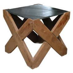 Slate and Wood 4 Sided X Table. | From a unique collection of antique and modern side tables at https://www.1stdibs.com/furniture/tables/side-tables/