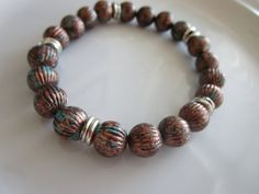 Men's brown and silver toned beaded bracelet  by LeeliaDesigns
