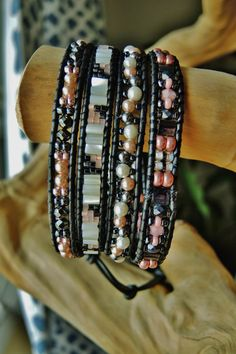Your place to buy and sell all things handmade Wrap Bracelet Tutorial, Best Wraps, Pink Sale, Wrap Bracelets, Blue Ridge, Semi Precious Gemstones, Jewlery, Beading, Glass Beads