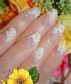 18 Wedding Nails and Nail Art Designs Perfect for the Big Day Wedding Nails For Bride, Bride Nails, Wedding Nails Design, Wedding Manicure, Glitter Wedding, Bling Wedding, Dream Wedding, Cute Nails, Pretty Nails