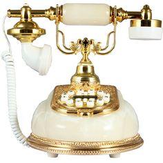 Gold Luxury Antique Push Button Faux Jade Corded Phone Retro Vintage Telephone