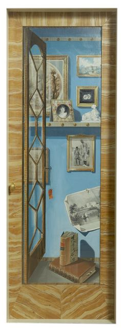 Trompe L'Oeil Left Door (Mes Objects Adore ), by Pierre Marie Rudelle (French, b. 1932)   Pair of wardrobe doorspainted in trompe l'oeil style withfavorite objects of First Lady Jacqueline Kennedy. These doors were originally used in Mrs. John F. Kennedy's White House dressing room.