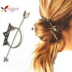 2015 del diseñador de moda de oro antiguo de la vendimia flecha triángulo palillos del pelo para las mujeres accesorios del pelo cierre joyería varas de cabelo