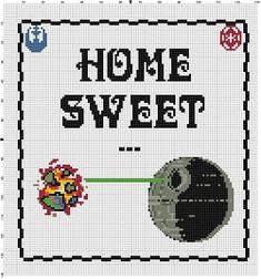 Nice sentiment for yourself or a new home owner!  Good Housewarming gift! Show your support for the folks of Alderaan who died so you can laugh at your own cleverness with this nerdy take on the Home Sweet Home classic stitch. Modern cross stitch pattern is designed on 14 count Aida. It is 130x130 stitches and is about 9.5x9.5 inches.  This pattern will come with 2 different sized full colour patterns, for printing or viewing convenience, and a handy little tips and tricks printout to help…