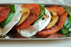 Tomato, Nectarine and Mozzarella Salad - I bet the nectarine is a perfect addition. A must try for summer!!