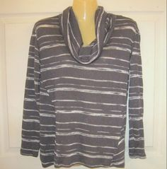 APT 9 Petite PM Knit Striped Top Gray/White Stripe COWL Neck Polyester  #PetitePM #PullOver #casual