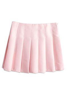 Pink Back Zipper Pleated Mini Skirt | Choies