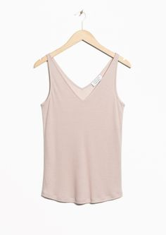 & Other Stories image 2 of Ribbed V-Neck Top in Beige