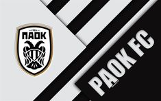 Download wallpapers PAOK FC, 4k, black and white abstraction, PAOK logo, material design, Greek football club, Super League, Thessaloniki, Greece, Superleague Greece Thessaloniki, Soccer Flags, Logos, Custom Football, Custom Flags, Flag Logo, Football Wallpaper, Sports Wallpapers, Material Design