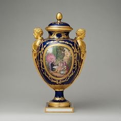"*1782 French Sèvres Vase at the Metropolitan Museum of Art, New York - From the curators' comments: ""The scene depicting a young family in a richly detailed garden setting is the work of Charles-Nicolas Dodin, regarded during his lifetime as the most skilled of all the painters at Sèvres. The lavish gilding on the vase includes the decorative handles in the form of male busts, which evoke the gilt-bronze mounts employed on French furniture of the period."""
