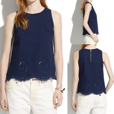 NWOT Madewell Irislace Top The embroidered motif and lace hem add a little touch of fancy without the fuss. True to size. Cotton. Madewell Tops Tank Tops