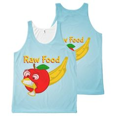 Raw Foods Food Fight Apple Verses Banana All-Over Print Tank Top Tank Tops