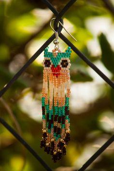 Beaded Owl Earrings with Dangling Fringe on Etsy, $25.00