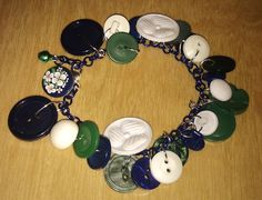 Vintage Buttons  Eidelweiss clover charm bracelet by LovelyRuthies, £5.00