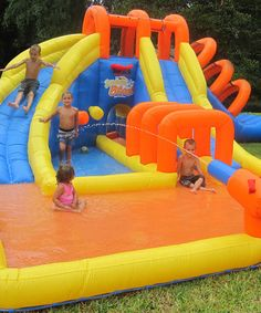 This water park offers plenty of summertime fun. A large wading pool and 3 slides make outdoor playtime exciting, and several activities keep kids occupied, Water Toys, Water Play, Backyard Water Parks, Water Slides Backyard, Indoor Slides, Backyard Toys, Blow Up Water Slide, My Pool, Pool Floats