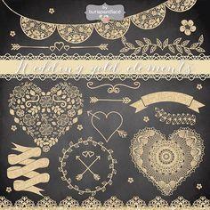 Wedding gold elements by burlapandlace on @creativemarket