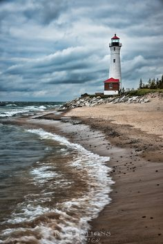 Crisp Point Lighthouse (west of Whitefish Point) on Lake Superior. This is worth the dirt backroads it takes to get there. Lighthouse Painting, Lighthouse Pictures, Crisp Point Lighthouse, Ocean Wallpaper, Watercolor Landscape Paintings, Watercolor Art, Beacon Of Light, Jolie Photo, Beach Art