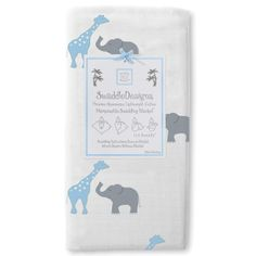 Swaddle Designs Marquisette Receiving Blanket Safari Fun Bright Blue @Layla Grayce