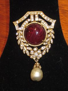 Vintage Cadoro Faux Baroque Pearl Rhinestone Purple Art Glass Brooch | eBay