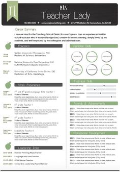 Teaching stuff Professionally Designed Resumes With Teachers In Mind Completely slo