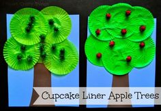 Cupcake Liner Apple Tree Craft via I Heart Crafty Things. Apple Activities, Autumn Activities, Craft Activities, Bible Crafts For Kids, Fall Crafts For Kids, Art For Kids, Cupcake Liner Crafts, Cupcake Liners, Cupcake Wrappers