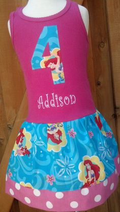 PERSONALIZED name and number Little Mermaid Dress by RNBDesignz, $34.95