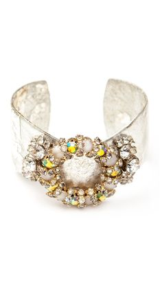 Silver Vintage Style Cuff with Pretty Color Detail.