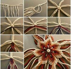 DIY No-Knit Weaving Flower of Yarn - not much in the way of instructions but maybe I'll figure it out. Here is a super easy DIY project to make a weaving flower of yarn.Doesn't require any knitting. You can use different colors of yarn to create your own Easy Yarn Crafts, Yarn Crafts For Kids, Diy Crafts To Sell, Sell Diy, Art Crafts, Kids Diy, Decor Crafts, Home Decor, Macrame Tutorial