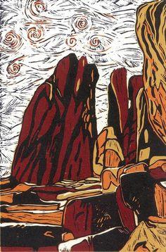 LINOCUT PRINT - Standing Rocks (Last Print Remaining in Edition)