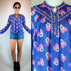 Vintage 70s ADINI RARE 100% COTTON Indian Gauze Sheer Balloon Sleeve Top Blouse Floral Purple blue Gypsy Boho Hippie Dress Tunic Extra Small by BluegrassVoodoo on Etsy