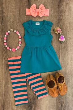 Teal Coral Stripe Capri Set - Sparkle in Pink Little Girl Outfits, Cute Outfits For Kids, Little Girl Fashion, Toddler Girl Outfits, Baby Girl Dresses, Toddler Fashion, Kids Fashion, Boy Dress, Outfits Niños