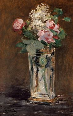 Fleurs In A Crystal Vase fleur impressionnisme Édouard Manet Peintures à l'huile