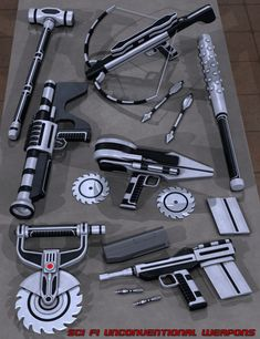 A collection of unconventional sci-fi weapons. Ninja Weapons, Sci Fi Weapons, Fantasy Weapons, Fantasy Armor, New Electronic Gadgets, Spy Gadgets, Futuristic Technology, Art And Technology, Arte Tech