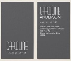 Stylish gray fashion personal profile or business card. Gray, vertical personal profile or business card. Customizable name and title / business name on the front and contact information on the back. Trendy design for women.