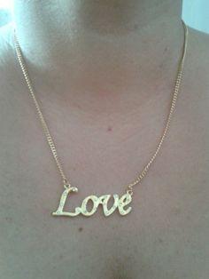 Colar Love dourado - Colares  www.jobijoias.com.br