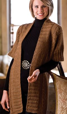 Knitting Pattern for Elbow Room Cardigan - #ad Tunic length short sleeved cardigan great for layering. 36, 40, 44, 48, 52 inches. Aran yarn. From Casual Circular Knitting. More pics at Annie's tba
