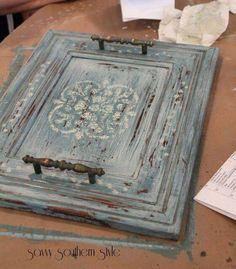 Cupboard door turned serving tray...Via Junkyjoey Facebook page