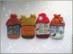 Wet Felting, Needle Felting, Felt Brooch, Textile Jewelry, Handmade Felt, Little Houses, Knitting Stitches, Home Art, Fiber Art