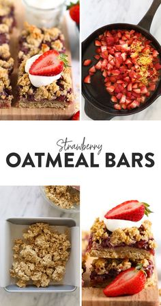 These Strawberry Oatmeal Bars are your summer dessert dreams come true! With an easy to make crust and crumble topping, and a filling made of sliced fresh strawberries reduced to perfection, these oatmeal bars are the best strawberry dessert to enjoy all summer long! Enjoy! Healthy Cookies, Healthy Dessert Recipes, Healthy Baking, Vegan Desserts, Healthy Desserts, Mexican Food Recipes, Delicious Desserts, Snack Recipes, Snacks