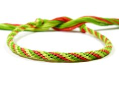 Watermelon Kumihimo Friendship Bracelet - Braided Cotton Bracelet in Green and Pink. $10.00, via Etsy.