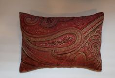 12x16 Burgundy Paisley Lumbar Pillow