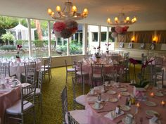 pink and gray table settings